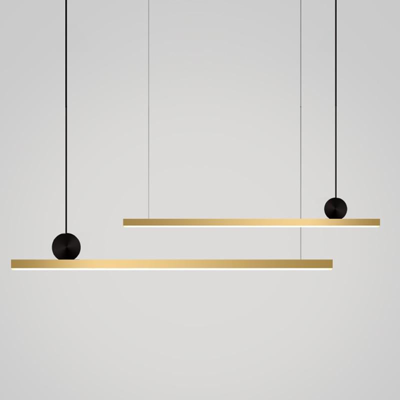 Lámparas colgantes nórdicas de lujo LED de cobre, iluminación colgante largo, lámparas de suspensión para comedor, accesorios para decoración del hogar para restaurante