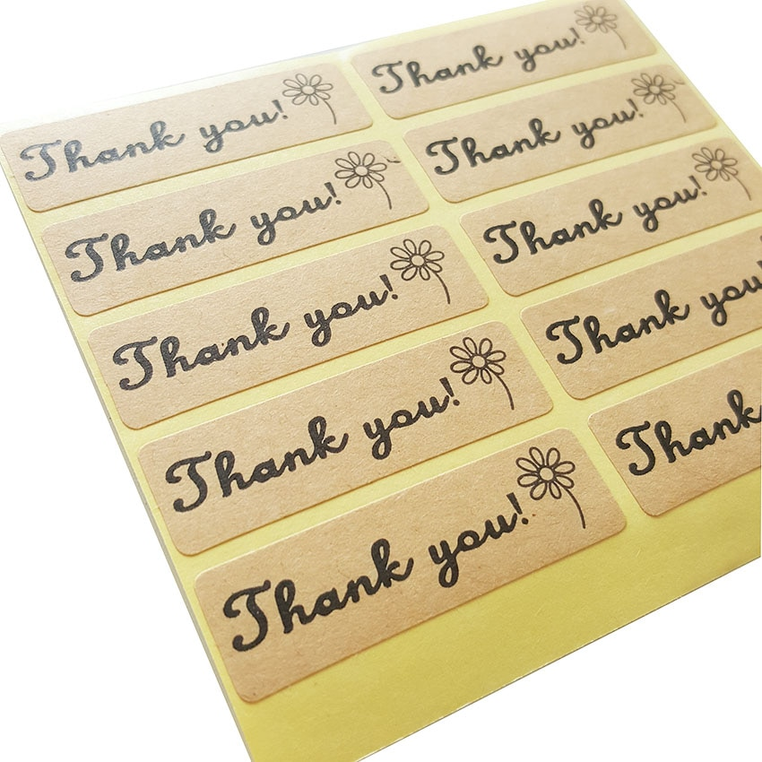 100 Stks/partij Dank U Bloem Sticker Sticker Voor Hand Made Gift Kind Briefpapier Stickers Srapbooking