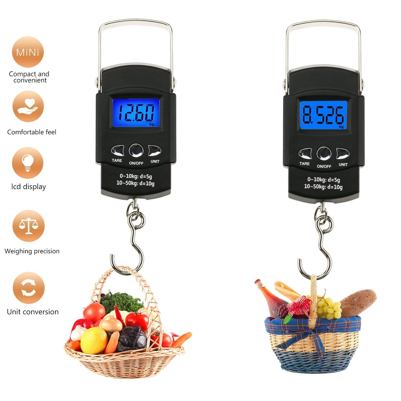 Balanza electrónica de kg/50 kg, balanza de gancho de pesca Digital con cinta de medición, balanza Digital de pantalla LCD retroiluminada