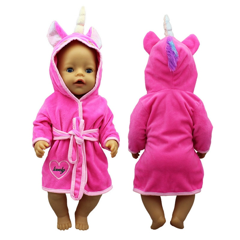 18 Inch Doll Clothes Unicorn Bathrobe Suit 43 Cm Born Baby Fit American Girl Accessories Dolls for Girls