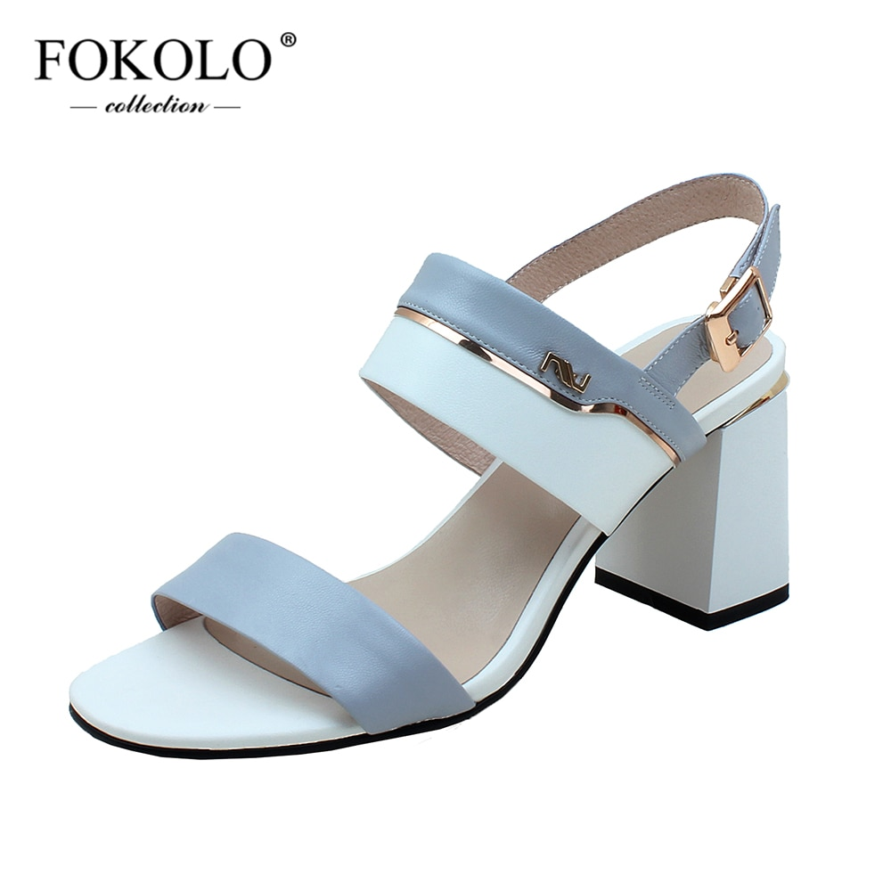 FOKOLO-صندل نسائي من جلد الغنم بكعب عالٍ ، أحذية نسائية غير رسمية ذات رأس دائري ، كعب مربع ، ملون ، L25 ، 2021
