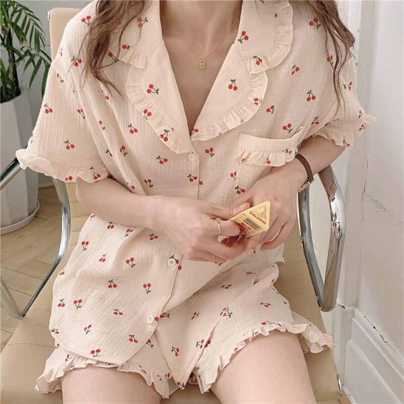 الكرز الأزهار طباعة جيب الكشكشة Kawaii منامة الصيف دعوى للنساء اليابانية في سن المراهقة الفتيات ملابس المنزل بيجامة