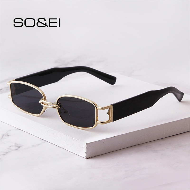 SO&EI Fashion Small Rectangle Women Sunglasses Brand Designer Vintage Square Punk Sun Glasses Men Sh