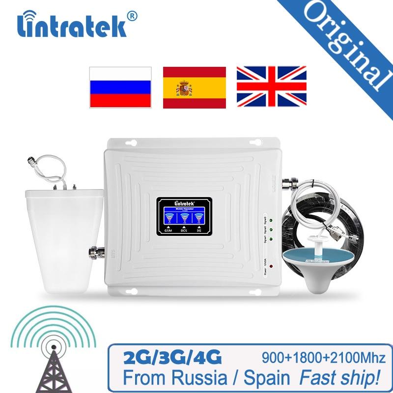 Lintratek الخلوية إشارة الداعم 900 1800 2100 GSM ثلاثي الفرقة مكبر للصوت موبايل مكرر إشارة DCS WCDMA 2G 3G 4G LTE مكرر