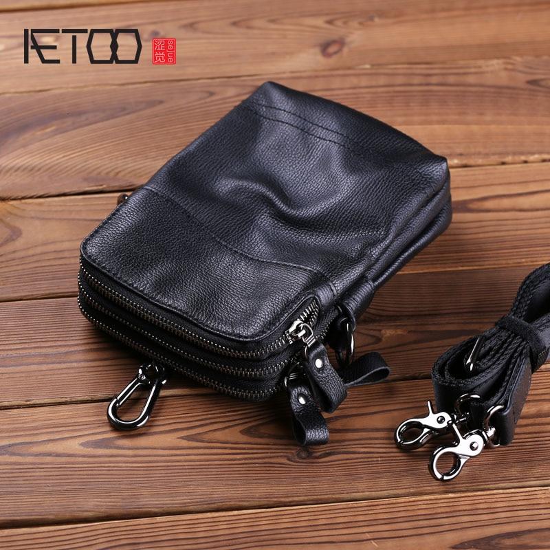 AETOO الرجال slantbag حقيبة ، الرجال البسيطة الكتف حقيبة ، رئيس جلد متعددة الوظائف الهاتف المحمول حقيبة