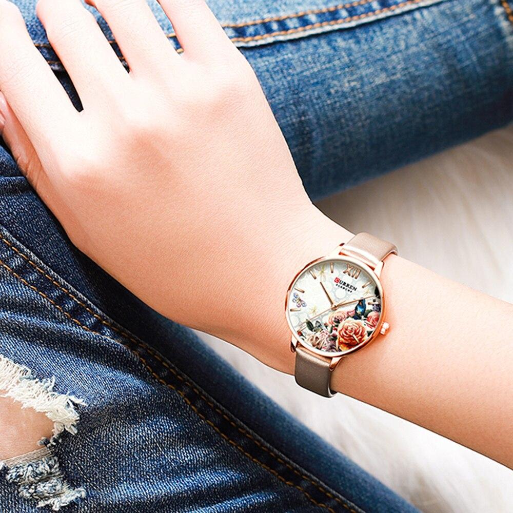 Curren Designer Women Watches Classic 3D Flower Dial Fashion Analog Quartz Watch Female Genuine Leather Strap Ladies Wristwatch enlarge