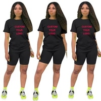 custom made summer womens sports t shirt and shorts two short sleeve o neck casual two piece jogging suit bicycle shorts set