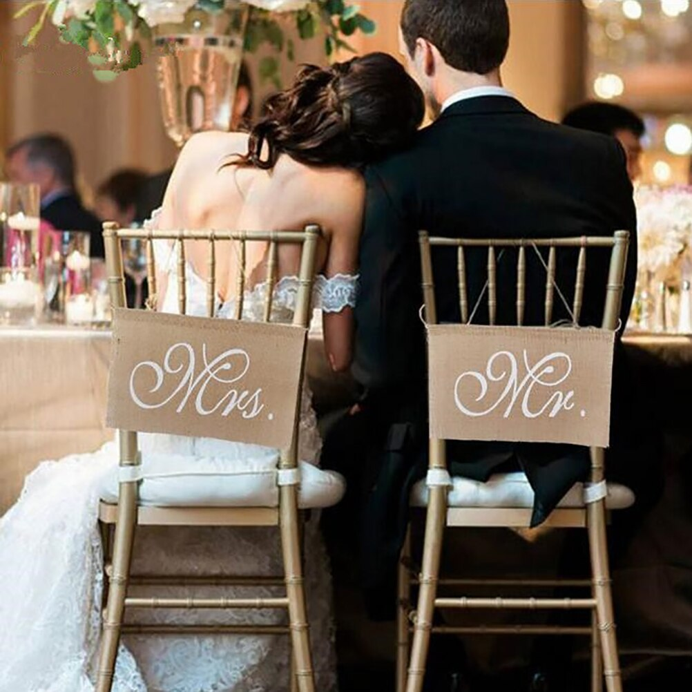 2pcs/Set 30 X 20cm Khaki Mr. & Mrs. Burlap Chair Banner Set Chair Banner Sign Garland Rustic Wedding Party Decoration