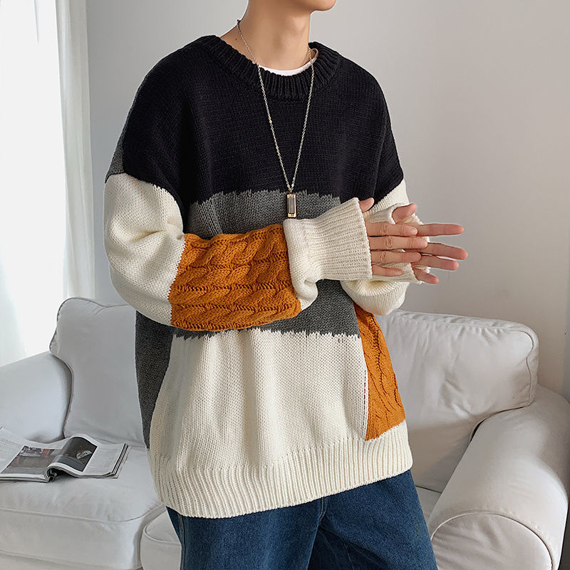 New Spring Japanese Harajuku Stitching Male Sweaters Pullover Loose Korean Version Tide INS Casual Knitwear Men Clothes Clothing