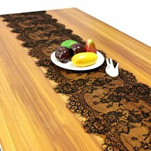 White/Black Wedding Floral Lace Table Runner Table Cloth Chair Sash Banquet Wedding Party Table Decoration Home Textile 300cm