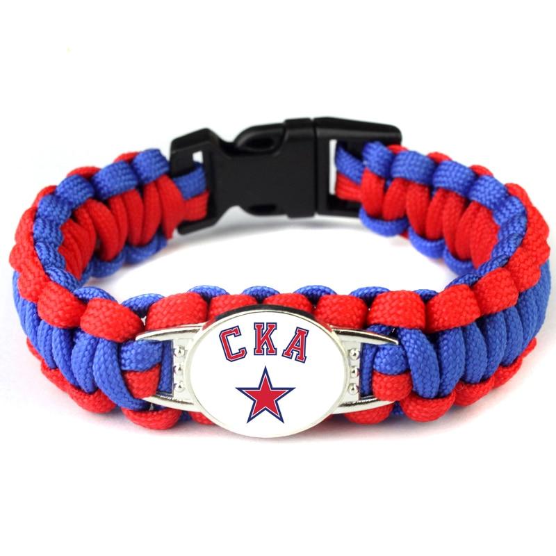 Khl cka logotipo da equipe de hóquei russo charme paracord pulseira 550 corda sobrevivência trançada corda escapar pulseira dropshipping