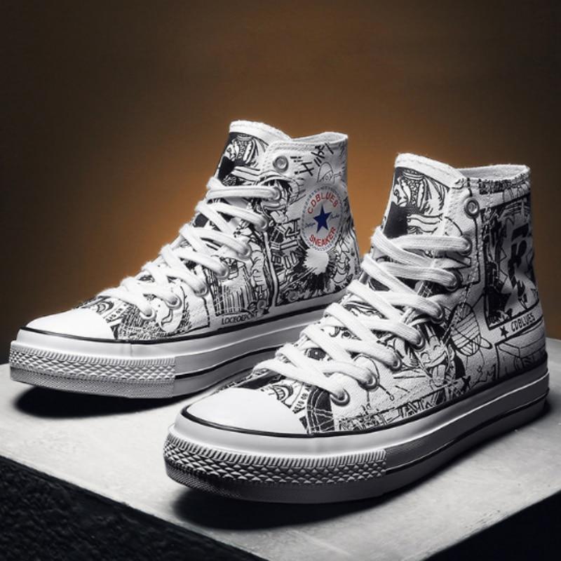 Männer Leinwand Schuhe Männliche Hohe Hilfe Atmungs Casual Schuhe Sommer 2019 Mode Catoon Einem Stück Männer Flut Turnschuhe Sapato Masculino