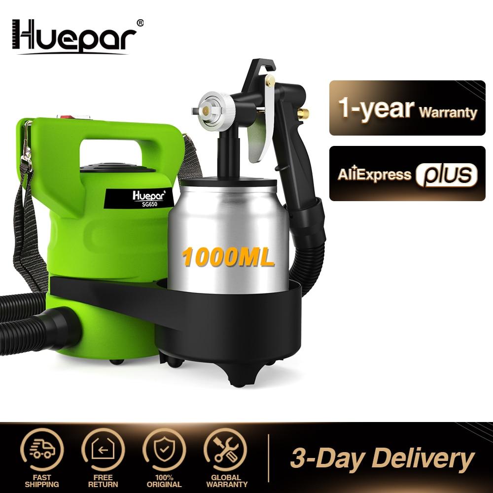 Huepar-مسدس رش كهربائي 650 واط ، حاوية طلاء 1000 مللي مع فوهات 1.0 مللي متر ، نوى نحاسية و 3 أنماط رش