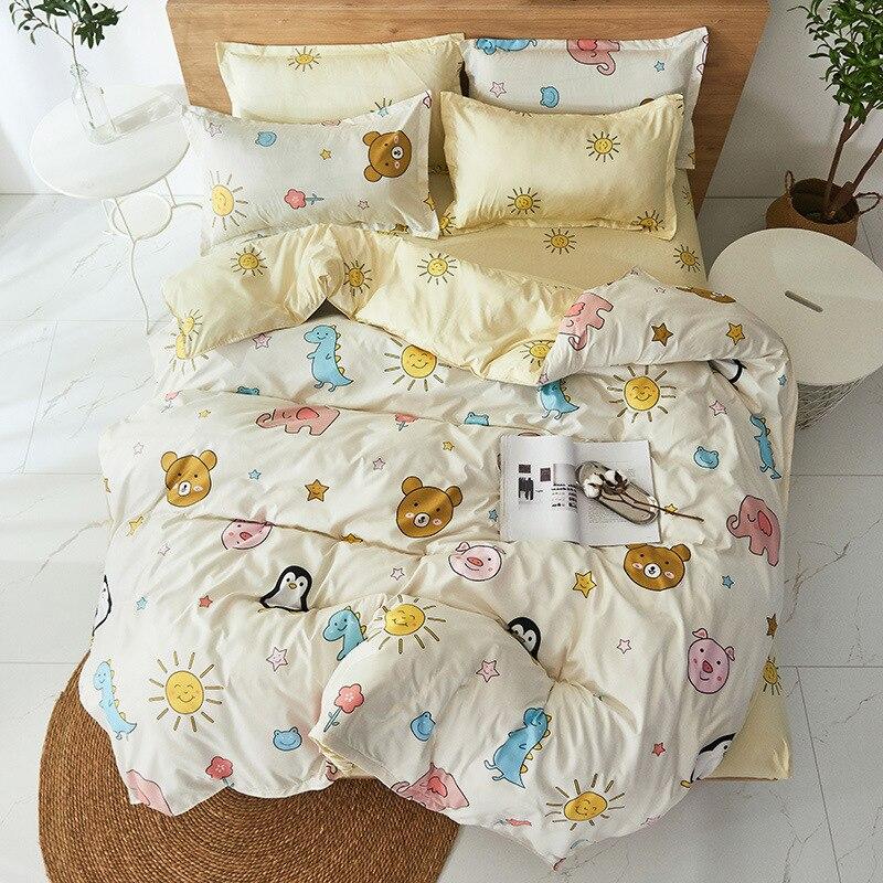 Cartoon animal zoo printing bed set 4pcs bedding set with elephant pig frog penguin bear dinosaur sun print cut duvet cover set