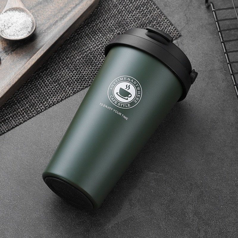 500ml Coffee Cups Insulated Stainless Steel with Lid Tumbler Mug Women Car Tea Anti-scald Thermos Cup with Handle Office Travel