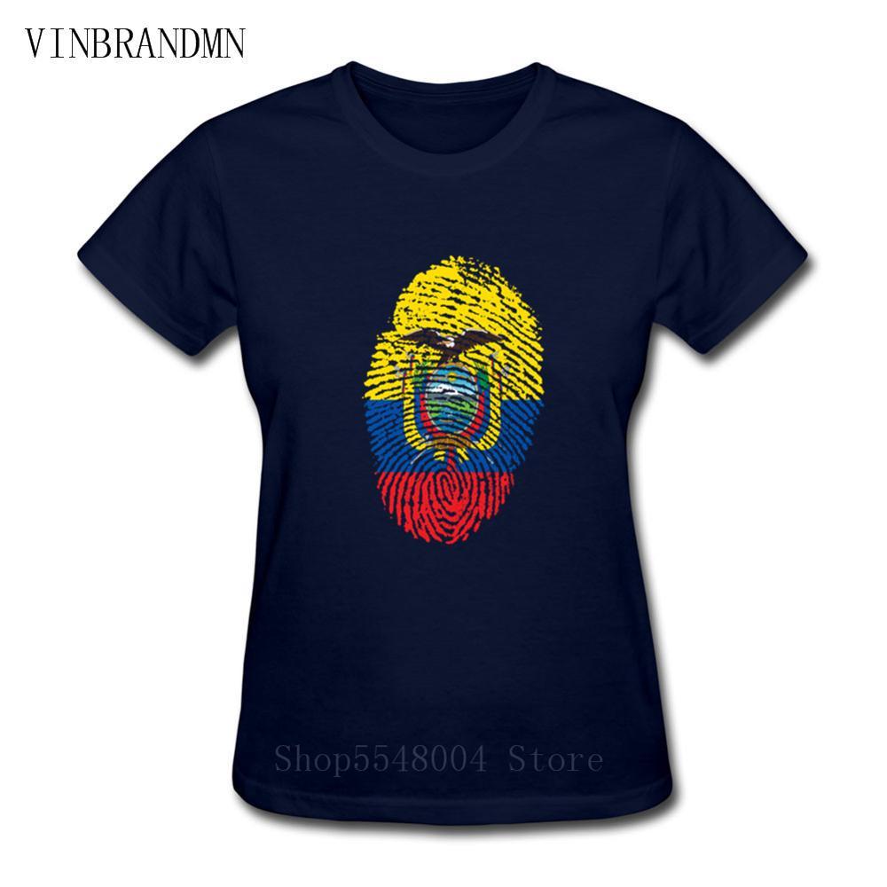 3D флаг Эквадора, определение отпечатка пальца Для женщин футболка с круглым вырезом и вентиляторы ностальгия флаг Эквадора Летний стиль Фи...