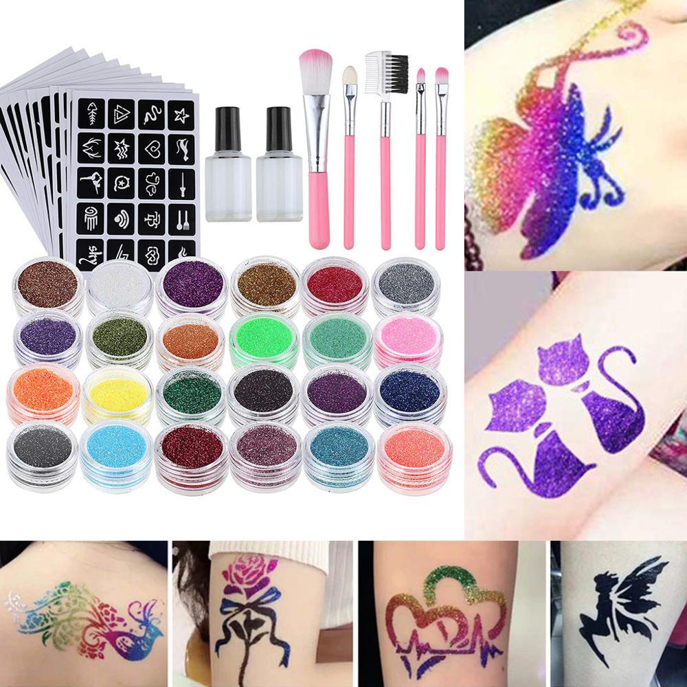 Conjunto de tatuagem brilhante-24 ps glitter + 117 pça modelo de tatuagem + 2 pça cola + 5 pça escova colorida diy artesanal festival maquiagem ferramentas festa