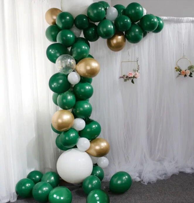 Arco de globo verde oscuro y set de guirnaldas oro cromado/globo de confeti cumpleaños Baby Shower compromiso nupcial evento Fiesta Favor