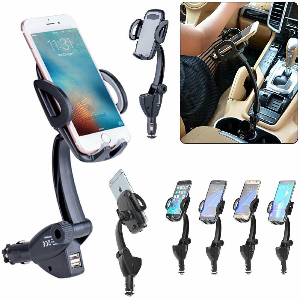 Soporte para cargador de mechero de coche con dos puertos USB, soporte de teléfono móvil para GPS de teléfono móvil