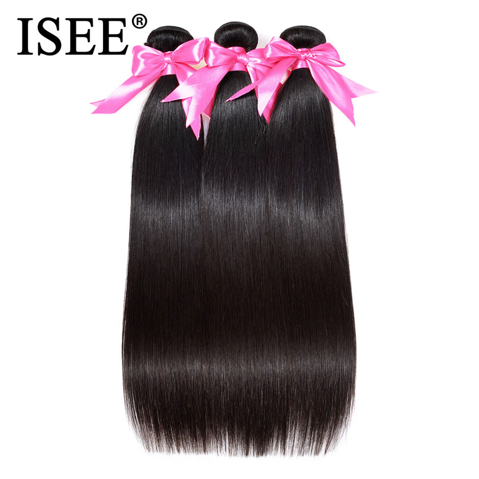 ISEE HAIR Brazilian Straight Hair Extensions Remy Hair Weave Bundles Nature Color 3 Bundles Thick St