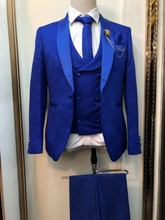 New Arrival Men Suits Royal Blue Groom Tuxedos Shawl Satin Lapel Groomsmen Wedding Best Man ( Jacket+Pants+Vest+Tie ) C943