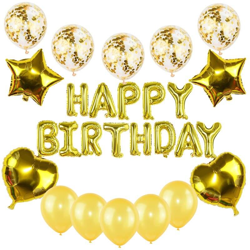 Kit de decoración para fiesta de cumpleaños carta de feliz cumpleaños globos de confeti de oro globos estrella azul corazón helio globos de aluminio para Decoración