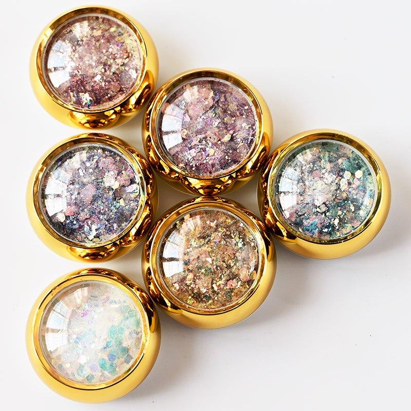 6 frascos de ouro gradiente sereia glitter flocos prego glitter hexágono holo lantejoulas em pó 3d manicure arte do prego colorido paillettes