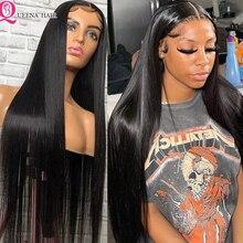 Queena-Peluca de cabello humano liso con cierre de encaje transparente, postizo de pelo peruano Remy, predespuntado, 5x5