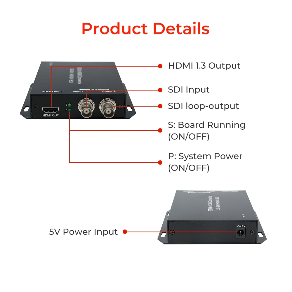 SDI to HDMI Converter Support 3G HD SDI HDMI output signal to audio and image embedded SDI Loopout for Camera Tester Converter enlarge