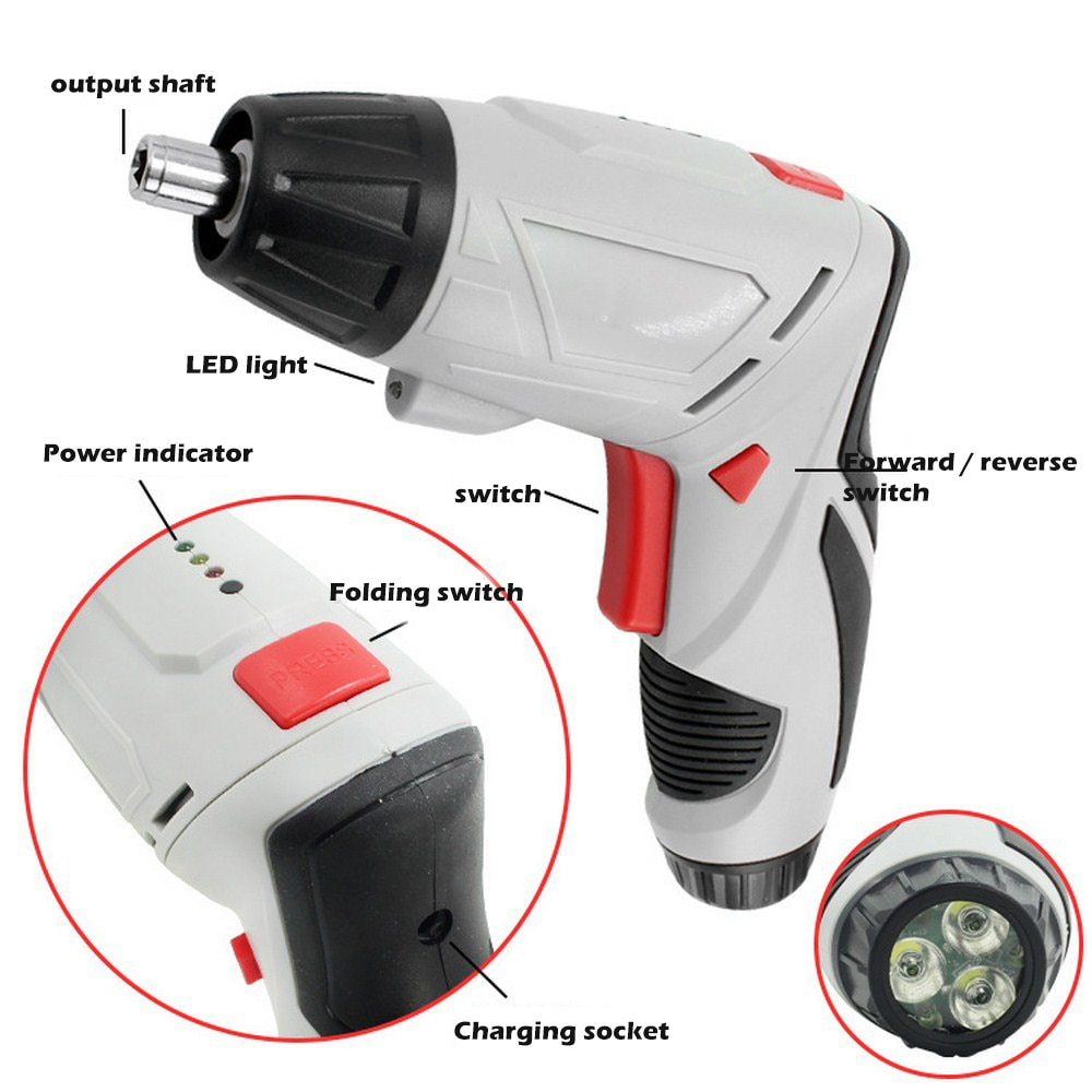 Multi Cordless Electric Screwdriver 220V Household Lithium-Ion Rechargeable Drill Driver Driver Power Gun Tools Kit with Light