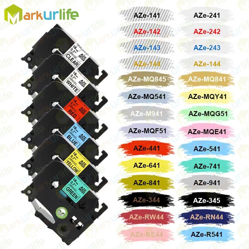 Multicolor Compatible laminated tze 241 tze641 18mm Black on white Tape tze-141 tz-241 for brother p-touch printer TZe-241