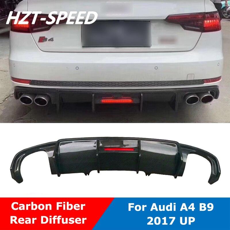 Difusor de parachoques de alerón trasero de fibra de carbono con luz LED para Audi A4 B9 s-line S4 Kit de carrocería de coche 2017 Up