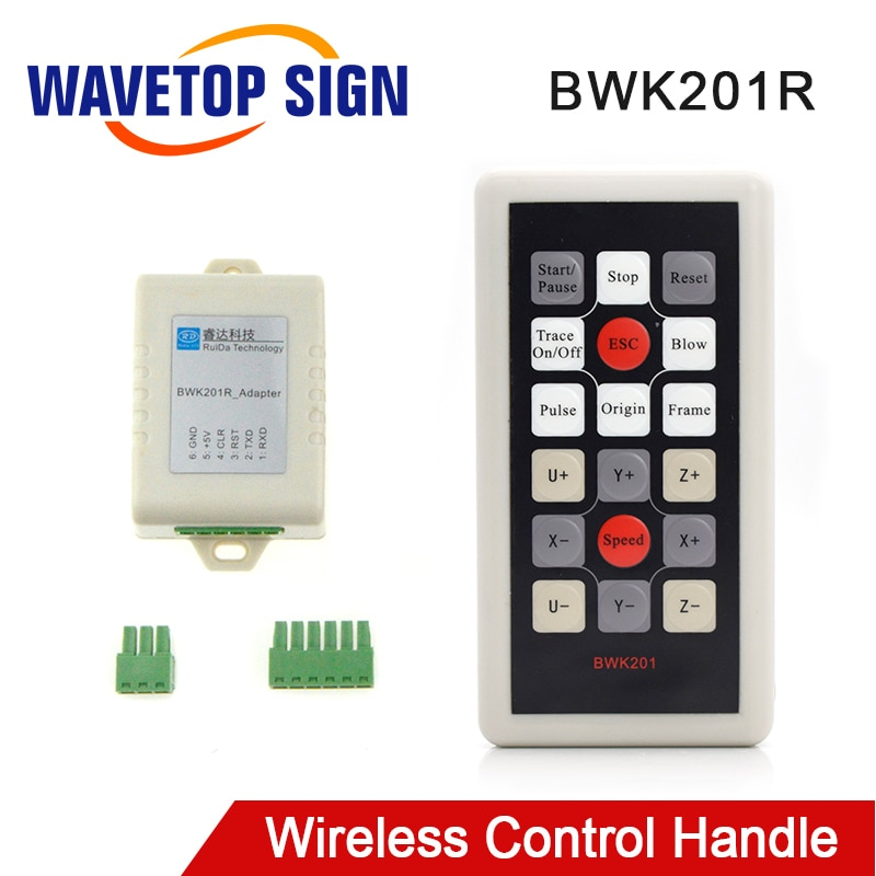 WaveTopSign Ruida mando de operación inalámbrico BWK201R para RDC6442G RDC6442S Co2 controlador láser