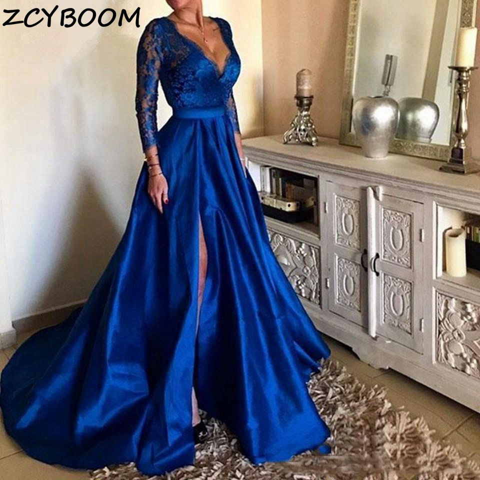 Royal A-Line Evening Dresses Women Formal Party Appliques Lace Vestido De Gala Elegant Long Sleeves V-Neck Split Side Prom Gowns недорого