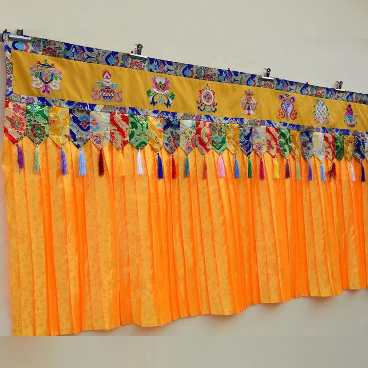 1.9 metro de comprimento por atacado budista supplie budismo família templo bordado parede pendurado altar mesa enclosing cortina cortinas