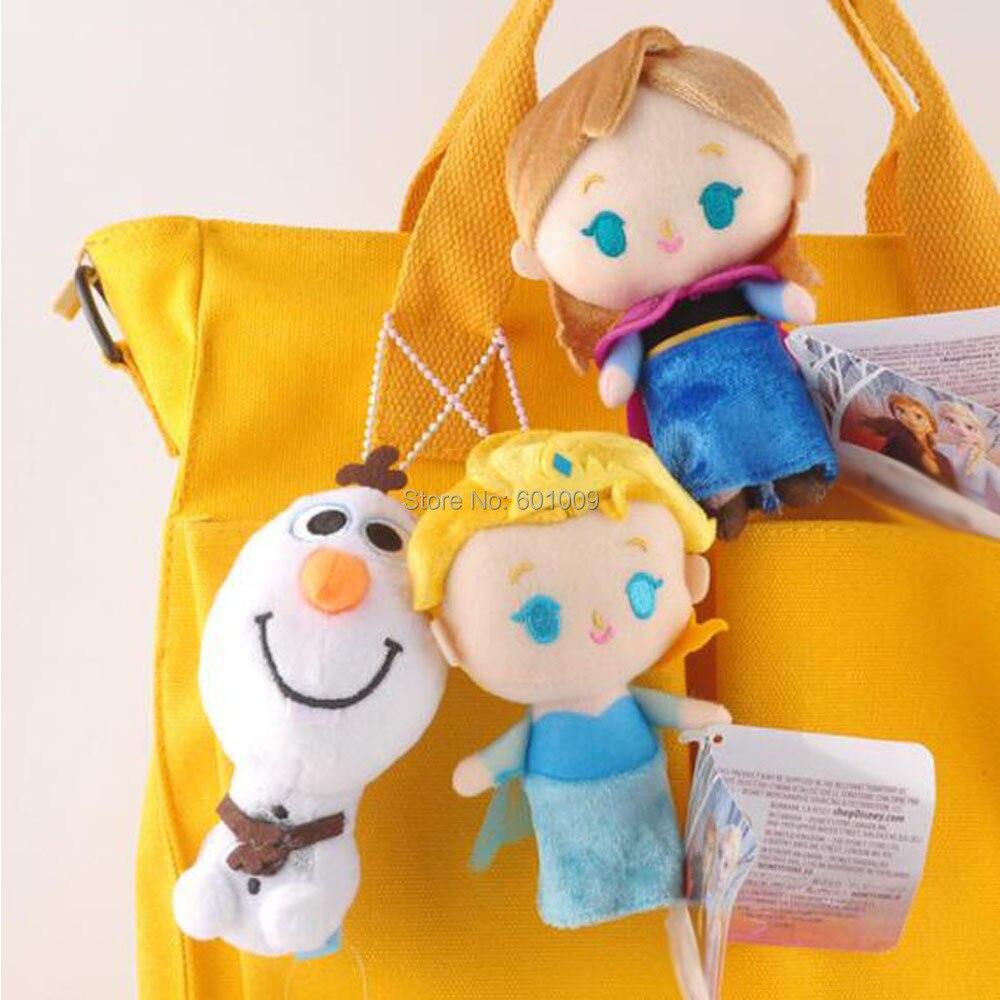 10/lote 3 estilos princesa Elsa Anna Olaf muñeco de nieve 12CM llavero colgante de felpa al por menor