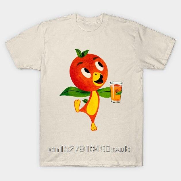 Camiseta de manga corta para hombre, camiseta casual a la moda con cuello redondo y zumo de naranja y pájaro naranja de Florida