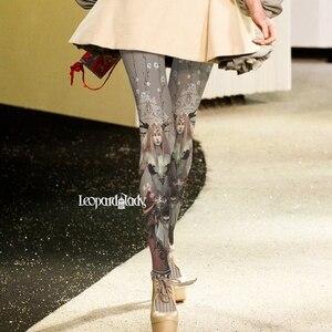 2020 Stockings Top Fashion Character Real Collant Runway Pantyhose Women Cartoon Pattern Printing Velvet Backing Winter Tights