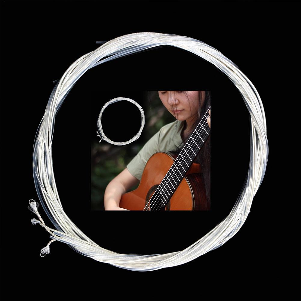 Juego de cuerdas para guitarra clásica, 6 uds., cuerdas de nailon transparentes para guitarra clásica, cobre plateado, SUB ventas