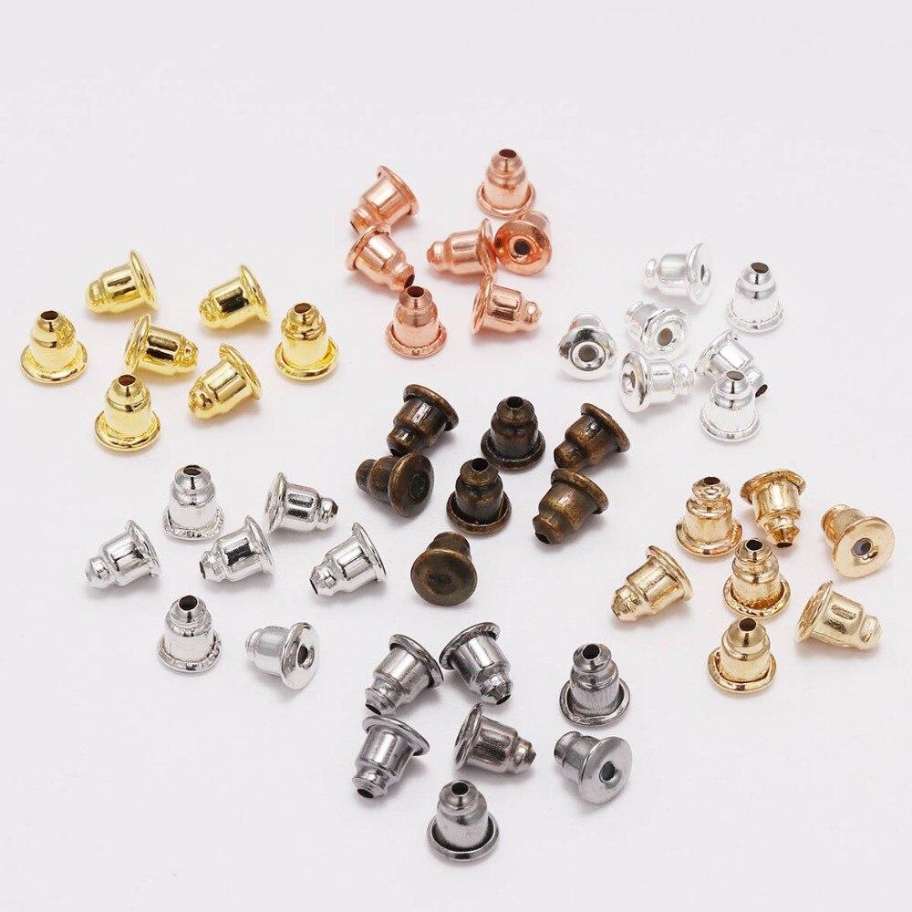200pcs 5*6mm caps Earring Studs Backs Stopper Scrolls Ear Post Nuts Findings DIY Blocked Earrings Backs Stoppers Ear Accessories