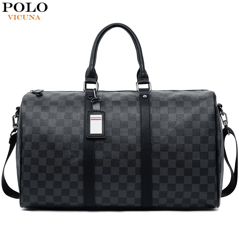 VICUNA POLO Classic Plaid Design Mens Leather Travel Bag Brand Leather Business Man Bag Overnight To