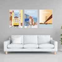 travel city poster lisboa porto landscape canvas print wall art pictures for living room home decoration interior paintings