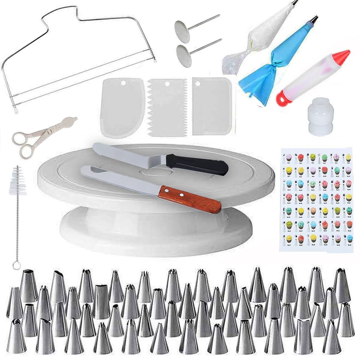 Honhill Cake Decorating Tool Nozzles Kit Turntable Baking Flower Icing Piping 73 PCS DIY Couplers Cream Baking Tools 12pcs cake decorating tool kits piping tip and bag baking icing set with 3 spatulas baking decoration tool