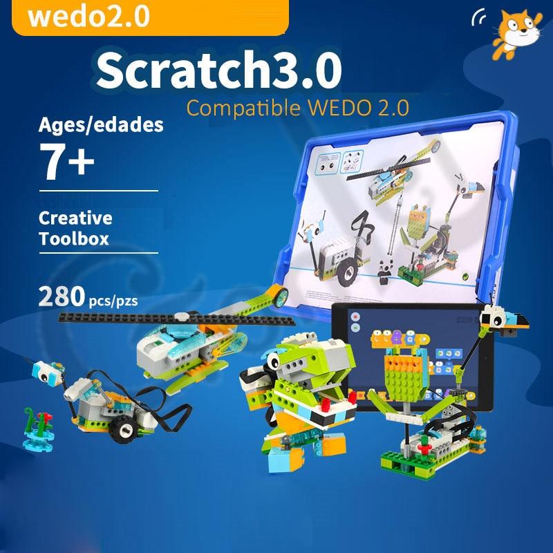 مجموعة مكعبات بناء روبوتية WeDo 3.0 ، تقنية عالية ، متوافقة مع 45300 Wedo 2.0 ، ألعاب تعليمية DIY