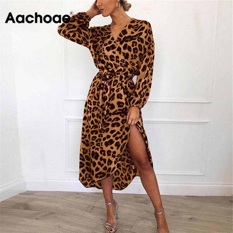 Aachoae Leopard Dress 2020 Women Vintage Long Beach Dress Loose Long Sleeve V-neck A-line Sexy Party Dress Vestidos de fiesta
