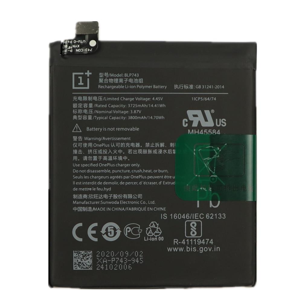 High Capacity OnePlus Phone Batteries 100% Original Battery For Oneplus 7T One Plus 7T Phone Battery BLP743 3800mAh Free Tools