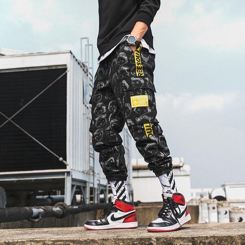 Harajuku Erkek Baskılı Jogger Pantolon 2019 Hip Hop Kargo Pantolon Erkek Moda Baskılı Harem Joggers Pantolon Streetwear
