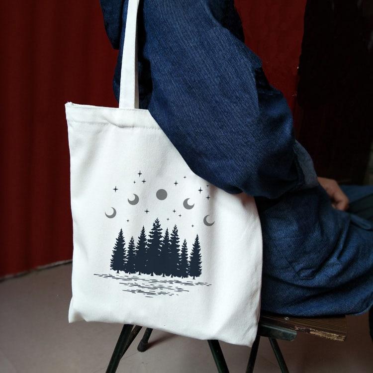 Женские сумки, тканевая сумка-тоут из парусины, с принтом темного леса, для покупок, для путешествий, женские многоразовые сумки через плечо, сумки для покупок, Bolsas De Tela