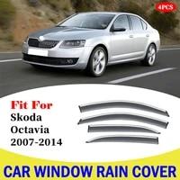 for skoda octavia 2007 2014 car styling window rain shade protector cover frame exterior accessories car window rain cover