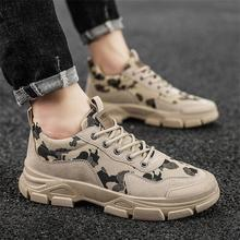 New Men Shoes Handmade PU Stitching Camouflage Cloth Round Toe Lace Classic Fashion Casual Comfortab